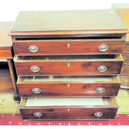 10 - Edwardian mahogany chest of four drawers of graduating sizes, with Mother of Pearl escutcheons and o...