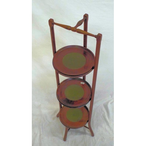 14 - Victorian mahogany three tier cake stand with shaped rails