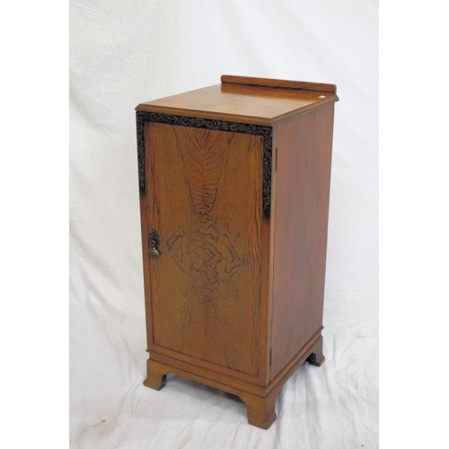 17 - Edwardian walnut locker with brass drop handle, shelved interior, on bracket feet