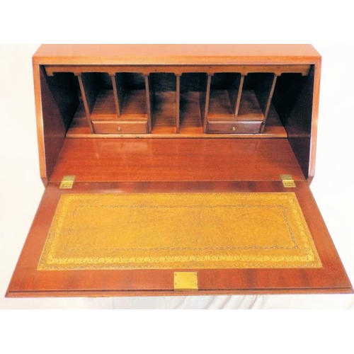 20 - Edwardian style inlaid mahogany bureau with fall-out front, pull-out supports, sectioned interior, f...