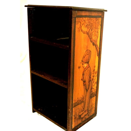 21 - Edwardian mahogany open floor bookcase with ornate bird and figured decoration