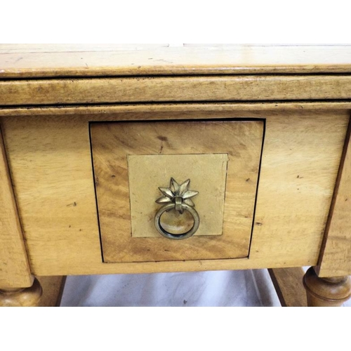 24 - Square oak coffee or occasional table with drawer, brass drop handle, on turned columns