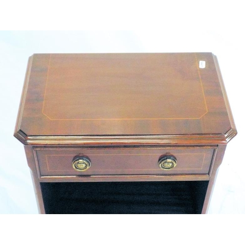 26 - Edwardian design inlaid mahogany side press with frieze drawer, adjustable shelving, on bracket feet