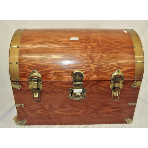27 - Dome topped pine chest with copper mounts and brass handles
