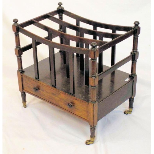 28 - Victorian mahogany canterbury with sectioned top, turned rails, frieze drawer, on turned legs with c...