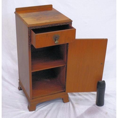 29 - Edwardian style walnut locker with frieze drawer, shelved press under, brass drop handles, on bracke...