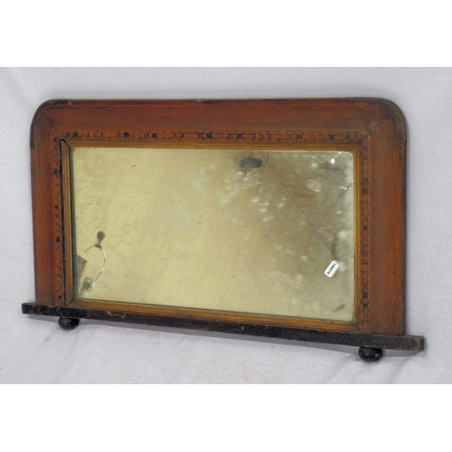 31 - Edwardian inlaid small overmantle mirror with ball feet