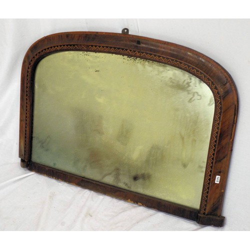 16 - Edwardian inlaid rosewood small overmantle mirror with ornate inlay