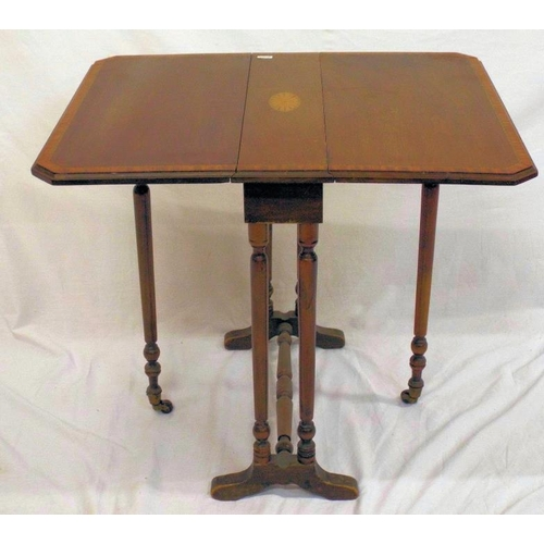 39 - Edwardian inlaid mahogany Sutherland table with shell and string inlay, drop leaves, gateleg support...