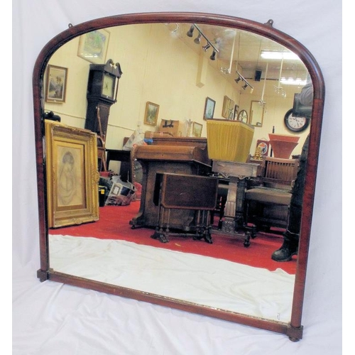 44 - Victorian walnut framed domed console mirror with bun feet