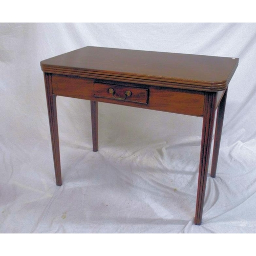 45 - Georgian mahogany tea table with fold-over top, reeded borders, gateleg support, frieze drawer with ...