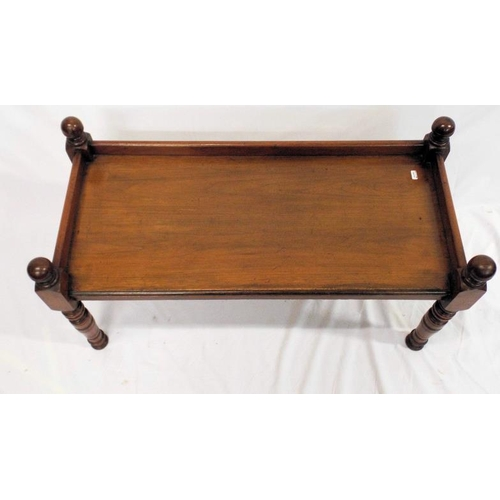 46 - Victorian mahogany oblong coffee table with turned finials, reeded borders, turned legs