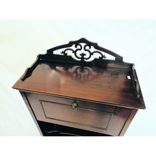 51 - Edwardian mahogany bureau with fretwork back, fall-down front with fitted interior, shaped shelf und...