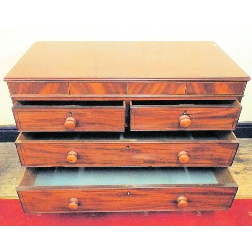 55 - Edwardian inlaid mahogany chest of two short and two long drawers with string and ebony inlay, turne...