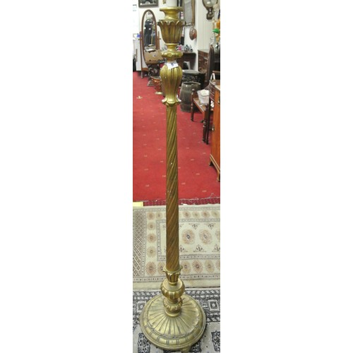8 - Ornate candle stand or lamp with foliate decoration, twist reeded column, on circular base