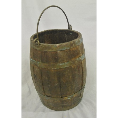 52 - Georgian oak fuel barrel with copper banding and shaped brass handle