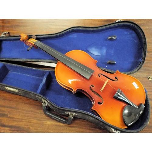 58 - Oriental 'Lark' violin 59cm in carrying case