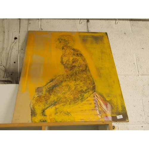 1 - A large oil on board painting by a local artist...