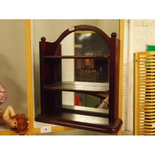 4 - Wooden mirror backed shelving unit...