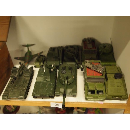 25 - A collection of various military Dinky toys...