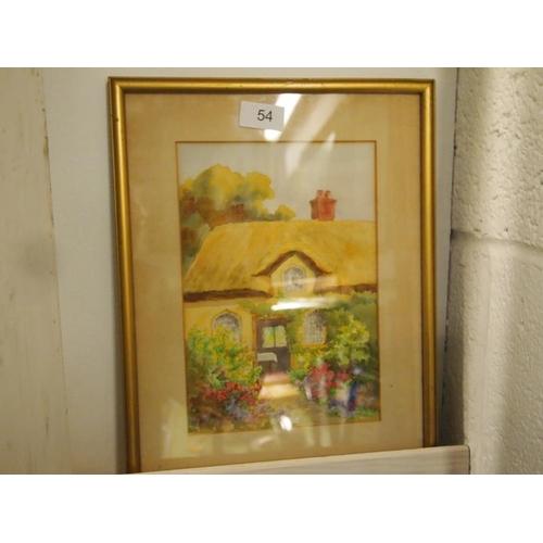 54 - Original watercolour cottage scene picture...