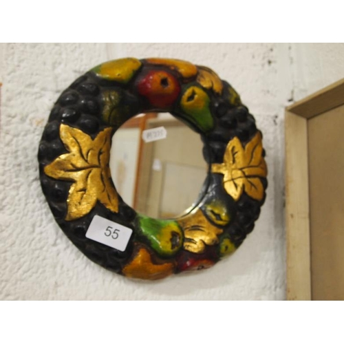 55 - A fruit themed small wall mirror...