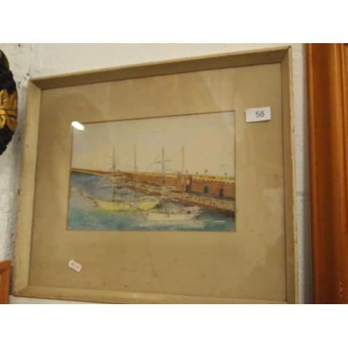 58 - A pencil and watercolour nautical scene picture...
