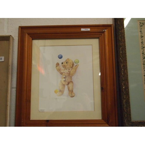 59 - Original watercolour of a teddy bear juggling balls signed by artist  Christine Groves...