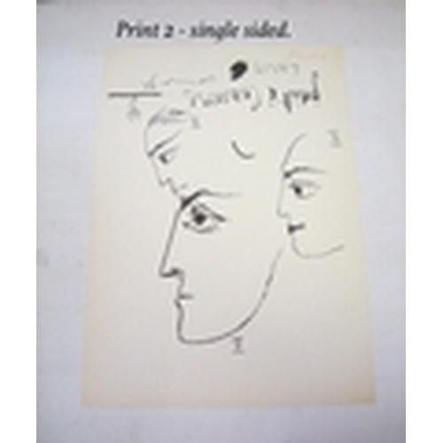 300 - Pablo Picasso. Set of 2 lithographic prints which are signed by Picasso.   1 Single sided and 1 doub...