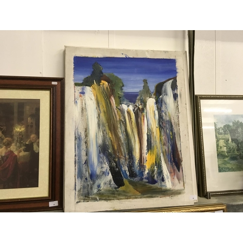 88 - Original oil on canvas waterfall painting by published artist Tanya Martin who has exhibited at the ...