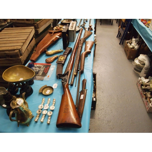 714 - English .75 dog lock musket with 53 inch barrel retained by a pin near the muzzle and a single (poss...