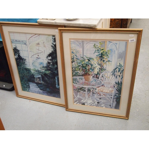 349 - A Pair Of Framed Prints Of Conservatory Scenes...