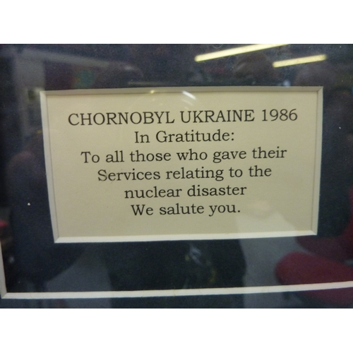 48 - Framed medal of Chornobyl Ukraine 1986 in gratitude to all those who gave their services relating to...