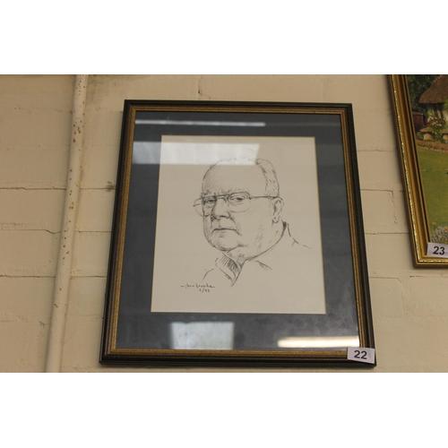 22 - Framed and glazed pencil sketch portrait  by artist Glenn Krupka...