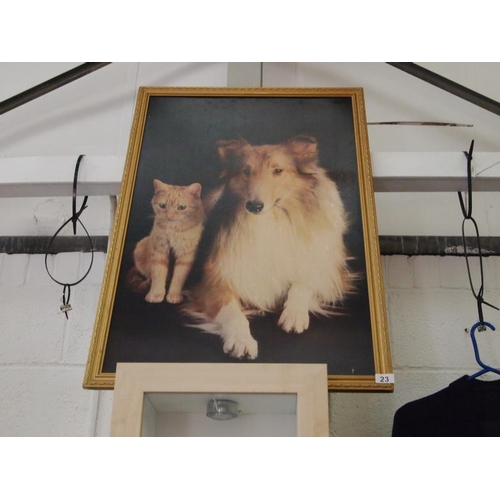 23 - Framed classic painting of a lassie dog and ginger pussy...