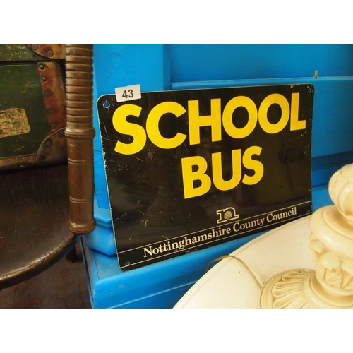 43 - Vintage school bus sign relating to Nottinghamshire County Council...