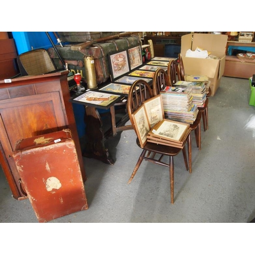 46 - Ercol long drop leaf dining table and four chairs...