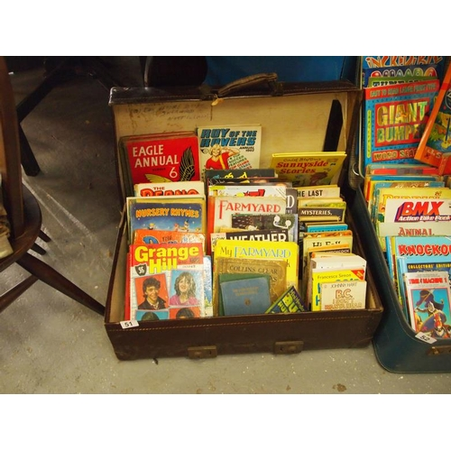 51 - Leather suitcase of vintage annuals and books including, Eagle, Beano and Dandy etc...