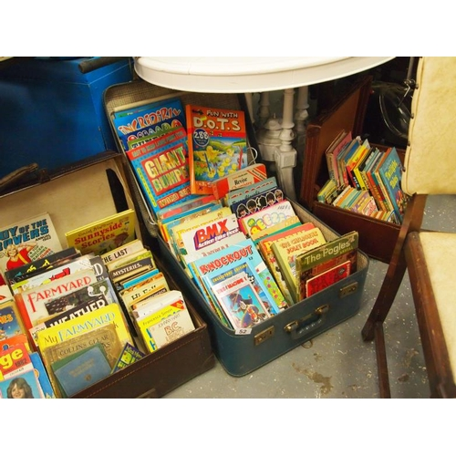 52 - Suitcase of vintage annuals and books including, Pippin, Beezer and Sparky etc...