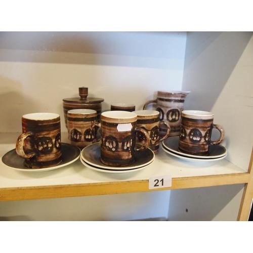 21 - The Monastery Rye pottery coffee set...