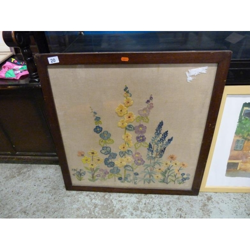 20 - Framed and glazed embroidered floral picture...