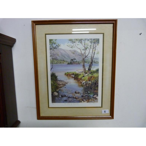 6 - Framed and glazed limited edition print 'The Edge of Ullswater' signed by the artist Judy Boyes...