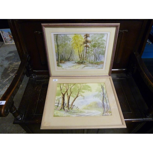 9 - Two framed and glazed watercolour forest scene pictures signed by the artist by artist P.S.Emmerson ...