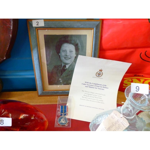 2 - Ministry of Defence veterans badge and certificate in recognition for services in the second world w...