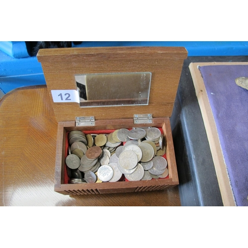12 - Wooden box of various coins...