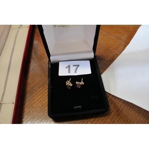 17 - Purple square design 375 gold earrings...