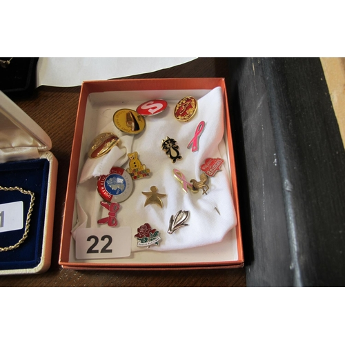 22 - Collection of various enamel pin badges...