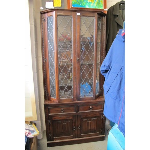 4 - Wooden display cabinet with leaded glass...