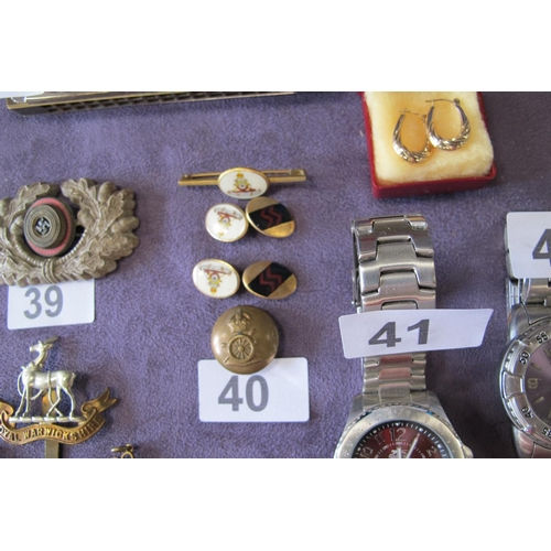 40 - Royal artillery and SS cuff links, tie pin and button...
