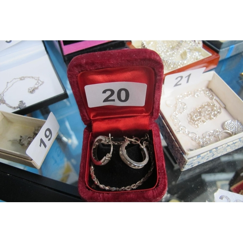20 - Stamped silver ear rings and stamped silver bracelet...